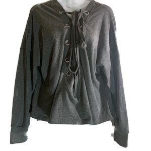 Crisscross tie-front crop top sweater